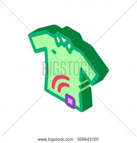 T-shirt With Signal Sensor Icon Vector. Isometric T-shirt With Signal Sensor Sign. Color Isolated Sy