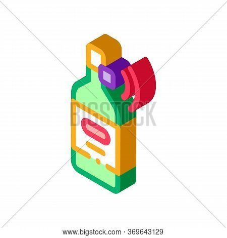 Beverage Bottle With Signal Sensor Icon Vector. Isometric Beverage Bottle With Signal Sensor Sign. C