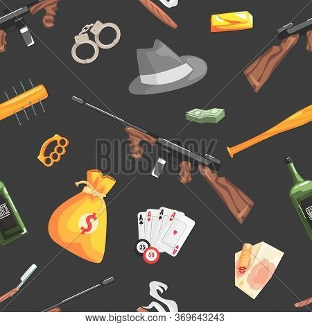 Mafia And Gangsters Vintage Objects Seamless Pattern, Design Element Can Be Used For Wrapping Paper,