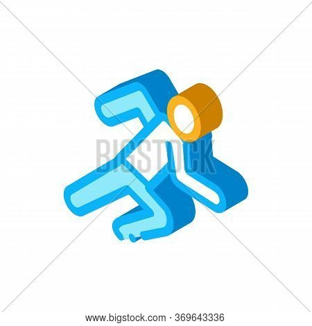 Runner Athlete In Action Icon Vector. Isometric Runner Athlete In Action Sign. Color Isolated Symbol