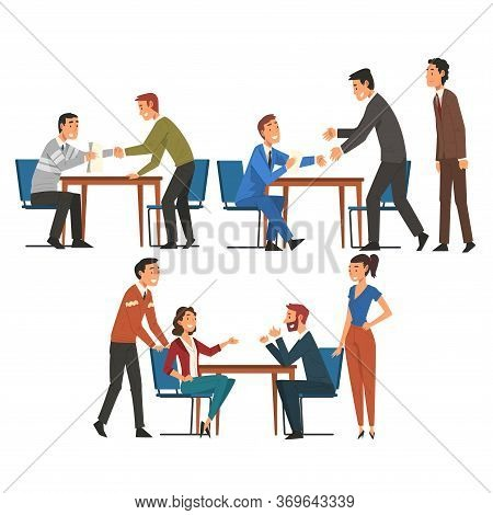 Business Negotiations Set, Businesspeople Sitting At Table And Discussing Work Strategy, Exchanging