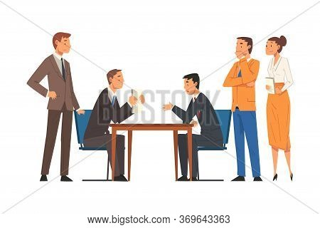 Business Negotiations, Busines Partners Sitting At Table And Discussing Work Strategy, Exchanging In