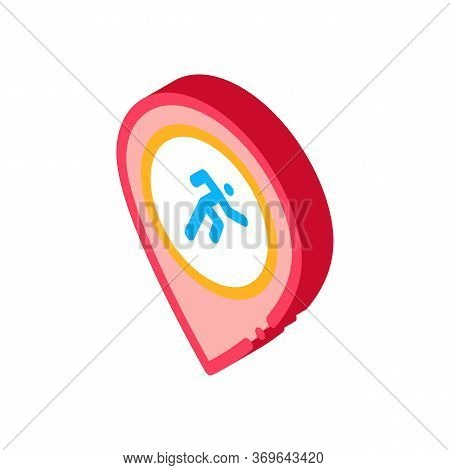 Runner Athlete Geolocation Icon Vector. Isometric Runner Athlete Geolocation Sign. Color Isolated Sy
