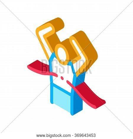 Runner Tearing Ribbon Icon Vector. Isometric Runner Tearing Ribbon Sign. Color Isolated Symbol Illus
