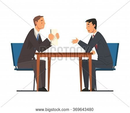 Business Negotiations, Businessmen Meeting, Exchanging Information, Solving Problems, Productive Par