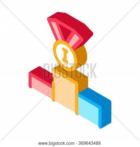 Winning Medal For 1st Place Icon Vector. Isometric Winning Medal For 1st Place Sign. Color Isolated