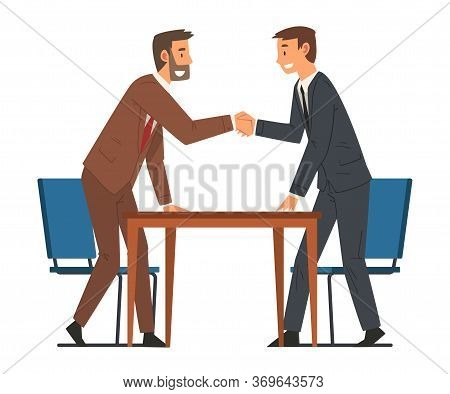 Successful Negotiations, Businesmen Shaking Hands, Business Deal, Productive Partnership Cartoon Vec