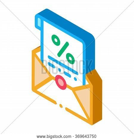 Printed Interest Letter Icon Vector. Isometric Printed Interest Letter Sign. Color Isolated Symbol I
