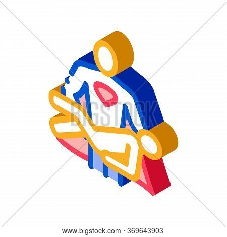 Hero Holds On Hands Human Icon Vector. Isometric Hero Holds On Hands Human Sign. Color Isolated Symb