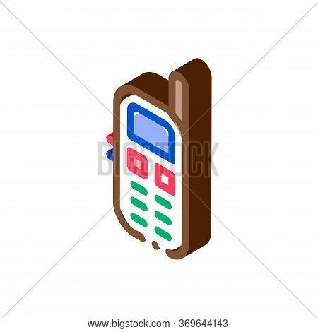 Cellular Telephone Symbol Icon Vector. Isometric Cellular Telephone Symbol Sign. Color Isolated Symb