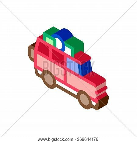Camping Car With Luggage Icon Vector. Isometric Camping Car With Luggage Sign. Color Isolated Symbol