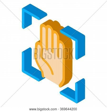 Person Handprint Scan Icon Vector. Isometric Person Handprint Scan Sign. Color Isolated Symbol Illus