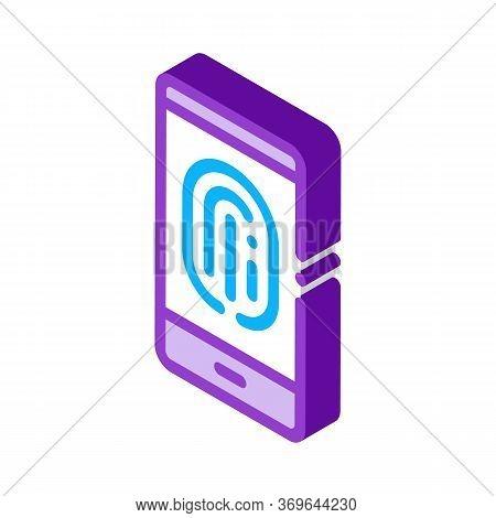 Scan Fingerprint In Phone Icon Vector. Isometric Scan Fingerprint In Phone Sign. Color Isolated Symb