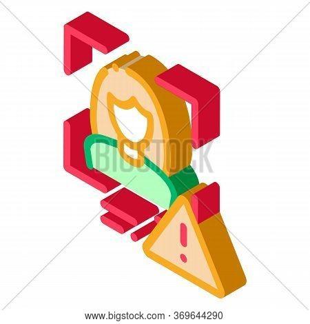 Identity Alert Woman Icon Vector. Isometric Identity Alert Woman Sign. Color Isolated Symbol Illustr