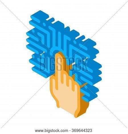 Biometric Fingerprint Verification Icon Vector. Isometric Biometric Fingerprint Verification Sign. C