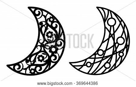 Laser Cutting Template. Christmas Carved Openwork Moon. Graphic Vector For Wedding Invitations, Baby