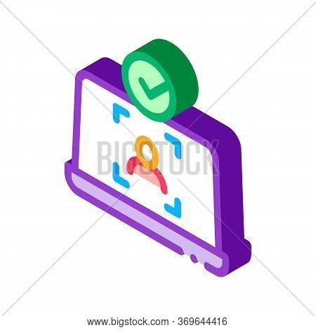 Laptop Person Identity Icon Vector. Isometric Laptop Person Identity Sign. Color Isolated Symbol Ill