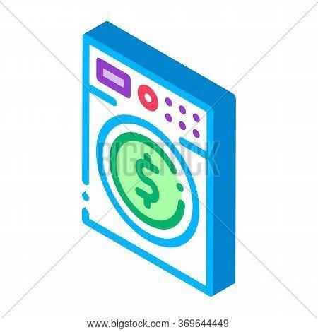 Money Laundering Washing Machine Icon Vector. Isometric Money Laundering Washing Machine Sign. Color