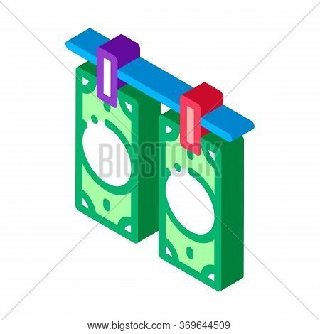 Drying Fake Banknotes Icon Vector. Isometric Drying Fake Banknotes Sign. Color Isolated Symbol Illus