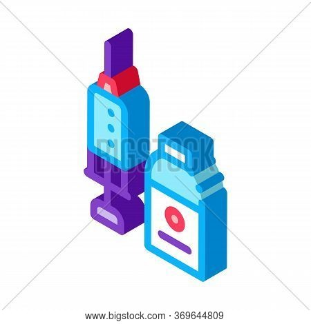 Syringe And Medicine Beaker Icon Vector. Isometric Syringe And Medicine Beaker Sign. Color Isolated