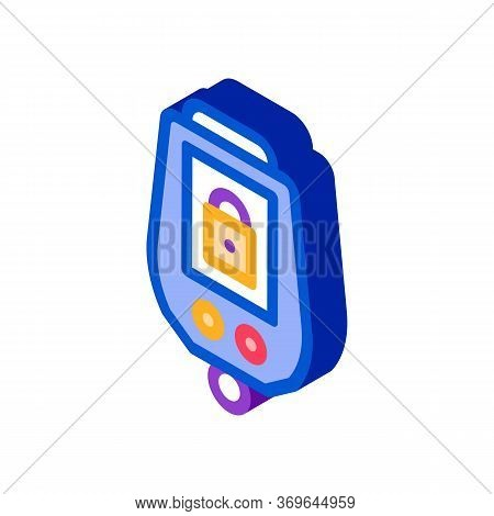 Secure Alarm Padlock Icon Vector. Isometric Secure Alarm Padlock Sign. Color Isolated Symbol Illustr