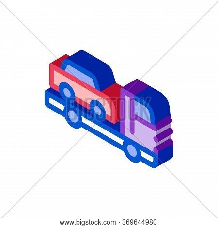 Truck Picks Up Car Icon Vector. Isometric Truck Picks Up Car Sign. Color Isolated Symbol Illustratio