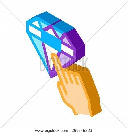 Bonus Diamond Selection Icon Vector. Isometric Bonus Diamond Selection Sign. Color Isolated Symbol I