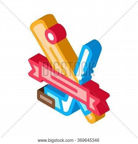 Hockey Sport Lesson Icon Vector. Isometric Hockey Sport Lesson Sign. Color Isolated Symbol Illustrat
