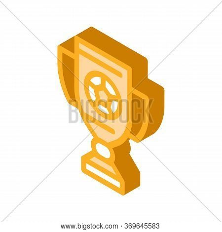 Football Champion Cup Icon Vector. Isometric Football Champion Cup Sign. Color Isolated Symbol Illus