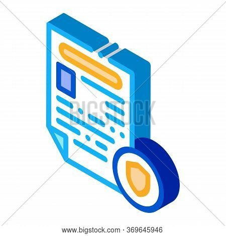 Police Report Worksheet Icon Vector. Isometric Police Report Worksheet Sign. Color Isolated Symbol I