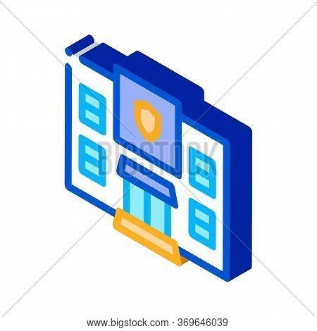 Police Department Build Icon Vector. Isometric Police Department Build Sign. Color Isolated Symbol I