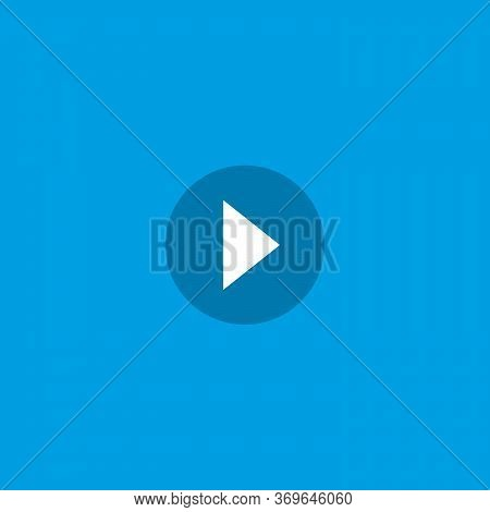Play Button Icon. Multimedia Play Record Round Button. Stock Vector Illustration Isolated On Blue Ba