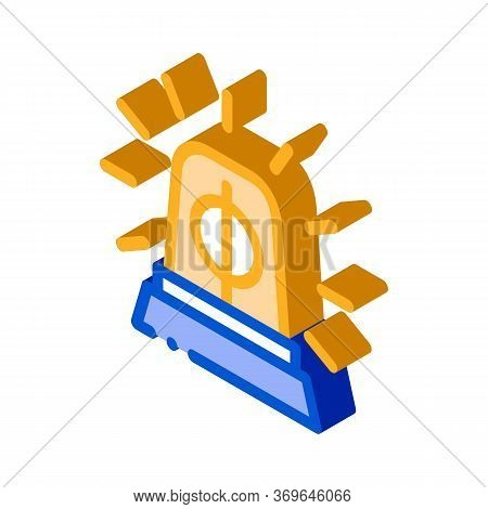 Police Squad Car Alarm Icon Vector. Isometric Police Squad Car Alarm Sign. Color Isolated Symbol Ill