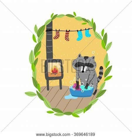 Grey Raccoon Washing Clothes In Basin In Cosy Burrow With Hanging Socks