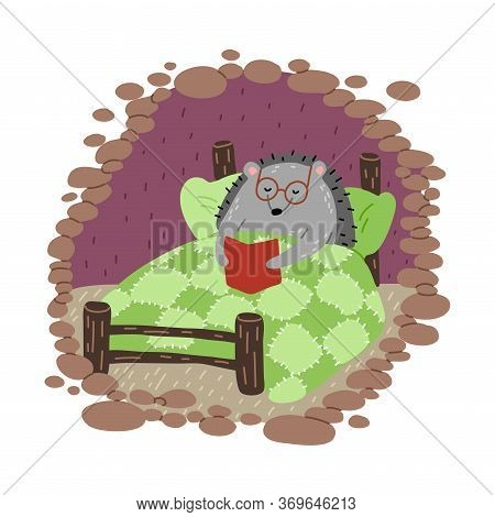 Grey Hedgehog In Glasses Reading Book In Bed In Cosy Burrow