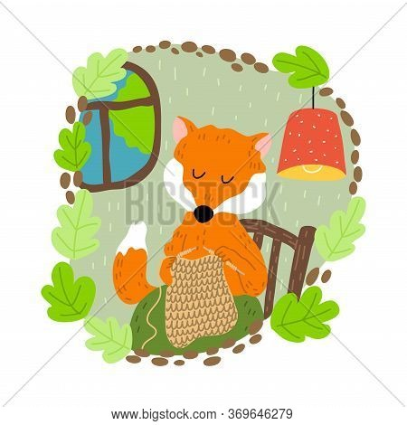 Red Fox Sitting And Knitting Sweater Alone In Cosy Burrow With Window