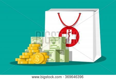 Medicine Bag And Money In Dollar Banknotes, Gold Coins. Healthcare Costs And Expenses, Spendings On
