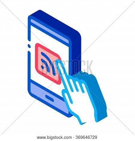 Hand Push Wifi Button Icon Vector. Isometric Hand Push Wifi Button Sign. Color Isolated Symbol Illus