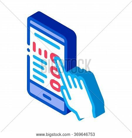 Hand Touch Phone Screen Icon Vector. Isometric Hand Touch Phone Screen Sign. Color Isolated Symbol I