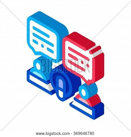 Hosts Talk In Microphone Icon Vector. Isometric Hosts Talk In Microphone Sign. Color Isolated Symbol