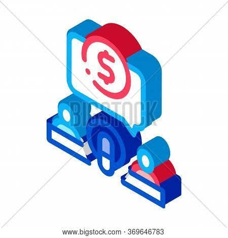 Hosts Microphone Dollar Icon Vector. Isometric Hosts Microphone Dollar Sign. Color Isolated Symbol I
