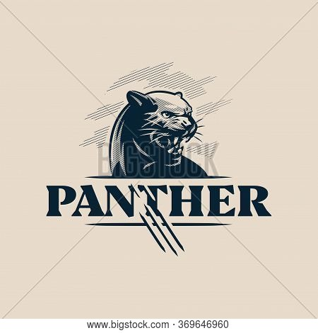 The Black, Aggressive Panther Bared Its Teeth. Vector Illustration.