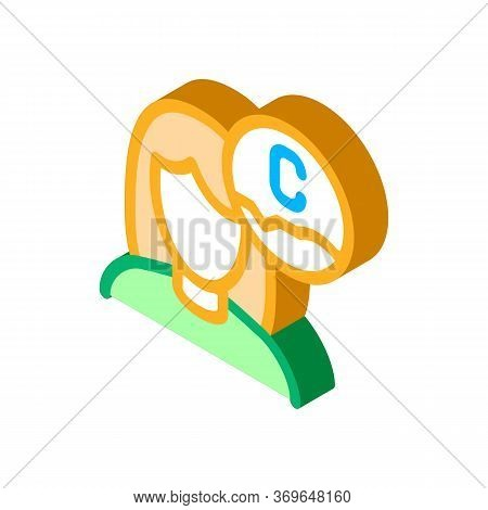 Woman And Ascorbic Acid Icon Vector. Isometric Woman And Ascorbic Acid Sign. Color Isolated Symbol I