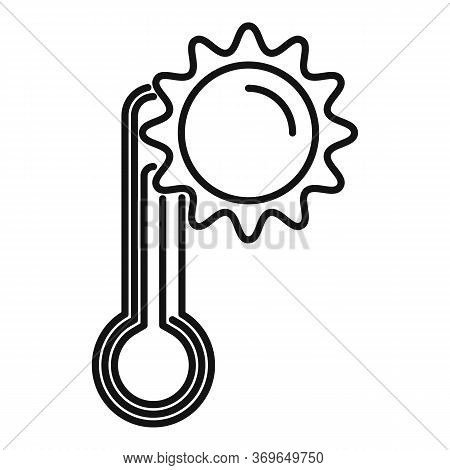 Warm Climate Sun Icon. Outline Warm Climate Sun Vector Icon For Web Design Isolated On White Backgro