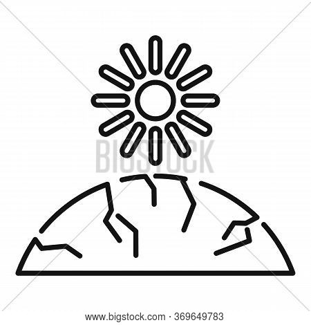 Sun Ground Drought Icon. Outline Sun Ground Drought Vector Icon For Web Design Isolated On White Bac