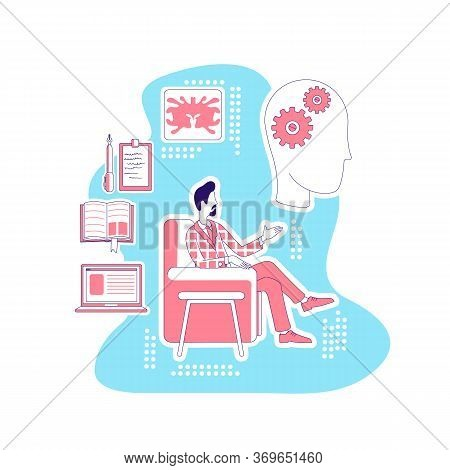 Psychologist Thin Line Concept Vector Illustration. Male Psychiatrist Sitting In Armchair 2d Cartoon