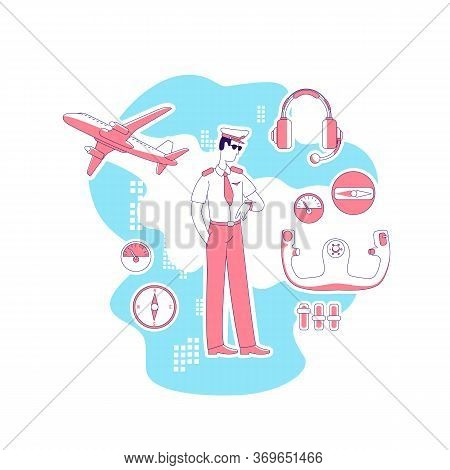Pilot Thin Line Concept Vector Illustration. Male Aviator Looking At Watch, Man In Uniform 2d Cartoo