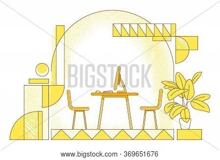 Managers Office Flat Silhouette Vector Illustration. Company Director, Ceo Workplace Contour Composi