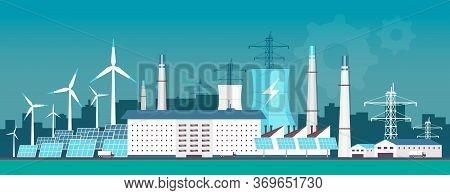 Eco Friendly Power Plant Flat Color Vector Illustration. Alternative Energy Factory 2d Cartoon Lands