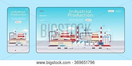 Industrial Production Adaptive Landing Page Flat Color Vector Template. Power Plant Mobile And Pc Ho